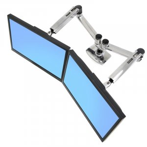 Ergotron LX Dual Side-by-Side Arm Monitor Mount - Polished Aluminum 45-245-026