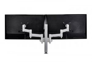Atdec Awm Dual Monitor Arm Solution - 460mm Articulating Arms - 400mm Post - Bolt - White