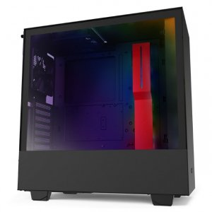 NZXT H510i Smart Tempered Glass Mid-Tower ATX Case - Matte Black/Red