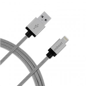 Mbeat Aluminium Lightning Cable with Nylon Braided - 2m - Silver