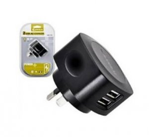 Sansai Hw-777n 2 Usb Outlet Ac Charger 5v 2.1a Output Max, For Smartphones, Tablets, Ipad, Iphone, Ipod, Cameras Etc, Black