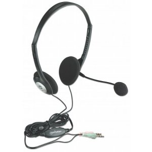 Manhattan 164429 Headset: Stereo With Microphone And Volume Control Dual 3.5mm Jack (one Year Warranty)