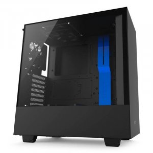 NZXT H500 Compact Mid-Tower Case - Matte Black & Blue