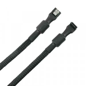 Simplecom CA110L Premium SATA 3 HDD SSD Data Cable Sleeved with Ferrite Bead Lead Clip Angle