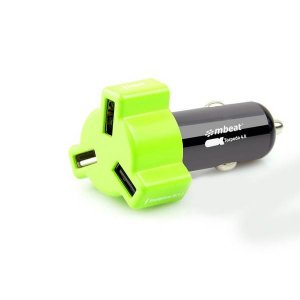 mbeat Green color 4.8A/24W triple ports car charger