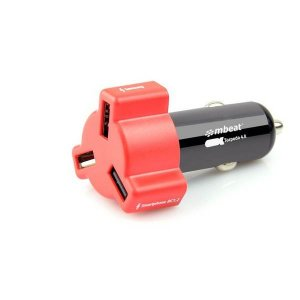 mbeat RED color 4.8A/24W triple ports car charger