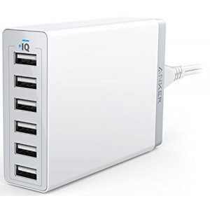 Anker A2123t21 Powerport 60w 6 Usb Port Wall Hub White