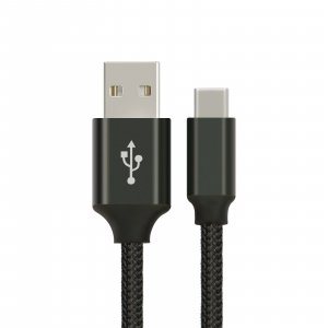 Astrotek 1M Usb-C 3.1 Type-C Data Sync Charger Cable Black Strong Braided Heavy Duty Fast Charging