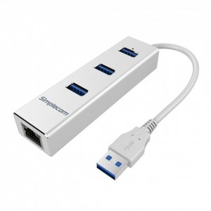 Simplecom Chn410 Silver Aluminium 3 Port Usb 3.0 Hub Gigabit Ethernet Rj45 Adapter 1000mbps For Pc Mac