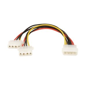 Wicked Wired 30cm Male 4Pin Molex To Dual Female 4Pin Molex Power Splitter Cable